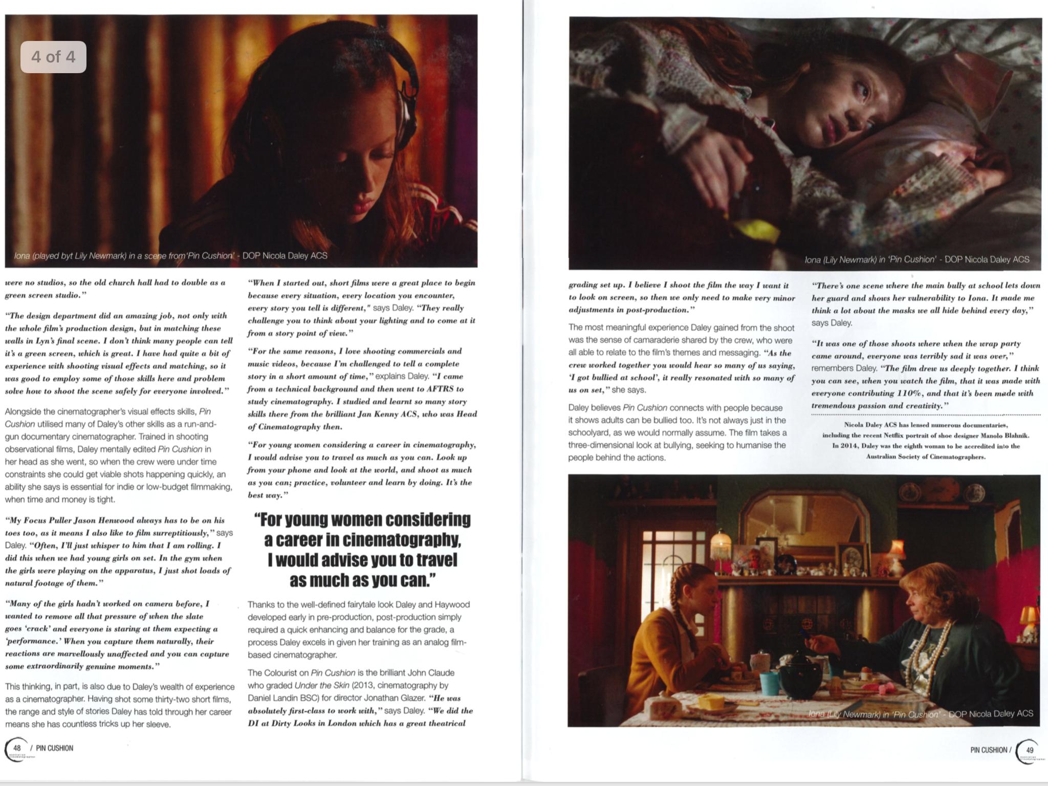 NICOLA DALEY ACS + AUSTRALIAN CINEMATOGRAPHERS MAGAZINE